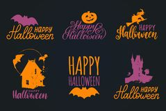Vector set of hand lettering with Happy Halloween phrase and sketches of horror symbols. All Saints Eve background. Royalty Free Stock Photos
