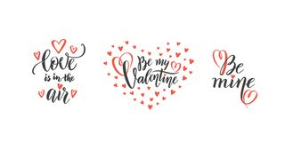 Vector Set of hand lettering love phrases text quotes to valentines day, love concept, wedding design template, hearts. Vector romantic set of hand lettering vector illustration