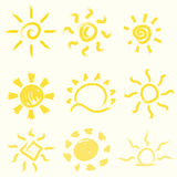 Vector set of hand-painted suns. Royalty Free Stock Photos