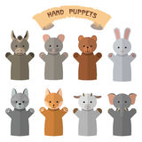 Vector set of hand puppets in flat style. Doll gloves with different animals. Royalty Free Stock Images
