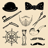 Vector set of hand sketched hipster vintage elements. Retro collection of barber shop equipments, pipe, wheel, hat etc. Stock Photo