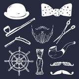 Vector set of hand sketched hipster vintage elements. Retro collection of barber shop equipments, pipe, wheel, hat etc. Stock Image