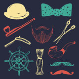 Vector set of hand sketched hipster vintage elements. Retro collection of barber shop equipments, pipe, wheel, hat etc. Stock Images