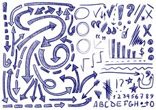 VECTOR set of hand-sketched icons. Elements for text correction or planning. Blue color. VECTOR set of hand-sketched icons. Elements for text correction or Royalty Free Stock Photos