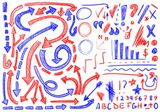 VECTOR set of hand-sketched icons. Elements for text correction or planning. Blue and red color. VECTOR set of hand-sketched icons. Elements for text correction Stock Photos