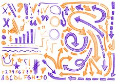 VECTOR set of hand-sketched icons. Elements for text correction or planning. Orange and purple color. VECTOR set of hand-sketched icons. Elements for text Royalty Free Stock Images
