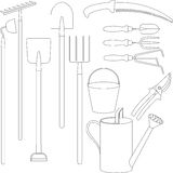 Vector set of hand tools for working in the garden Royalty Free Stock Image