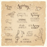Vector set of hand-written spring brush lettering on old vintage paper. Stock Photo