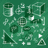 Vector set of handdrawn mathematics elements. Doodle set of math symbols and figures on green background Stock Photo