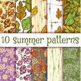 Vector set of handmade seamless summer patterns.  Stock Photos