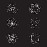 Vector set of handmade vintage sunbursts. Collection of retro design elements Stock Photo