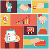 Vector set of hands. Clients purchasing work in flat retro style Stock Photos