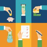 Vector set of hands. Clients purchasing work in flat retro style vector illustration