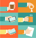 Vector set of hands - clients purchasing work in. Vector set of hands clients purchasing work in flat retro style illustration Royalty Free Stock Images