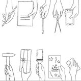 Vector Set with hands. Contours of hands with various household items Stock Images