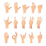 Vector set of hands in different gestures emotions isolated on white background Royalty Free Stock Photos