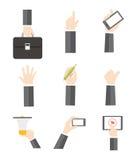 Vector set hands. Flat Vector set hands business Stock Image