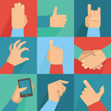 Vector set of hands and gestures Stock Photography