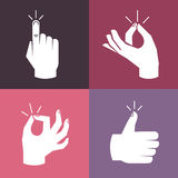 Vector set of hands and gestures Stock Photos