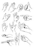 Vector set of hands and gestures Stock Photo