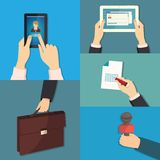 Vector set of hands holding different business Stock Images