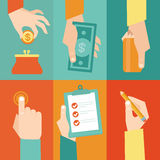 Vector set of hands  with money and contract Stock Photos
