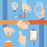 Vector set of hands - money and handshake Stock Images