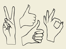 Vector set of hands. Monochrome Vector set of hands. Icons of different characters. Pointing finger. Clapping, applause, Good and ok Royalty Free Stock Photo