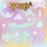 Vector set with handwritten lettering Mermaid Party, Seashell Crown, Tails.
