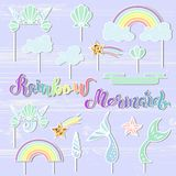 Vector set with handwritten lettering Mermaid, Rainbow, Seashell Crown, Tails, cloud, star. Mermaid symbols as patch, stick cake topper, sticker. Props for Royalty Free Stock Images