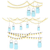 Vector Set of Hanging Glass Jar Lights