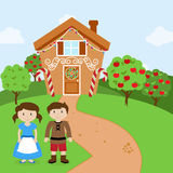 Vector Set of Hansel and Gretel in front of Fairytale Gingerbread House Royalty Free Stock Photography