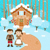 Vector Set of Hansel and Gretel in front of Fairytale Gingerbread House Royalty Free Stock Images