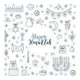 Hanukkah design elements. Vector set of Hanukkah design outline elements. Menorah, wreath, candles, donuts, garland, bow, gifts, candles, dreidel confetti coins