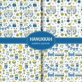 Hanukkah seamless pattern. Vector set of Hanukkah seamless pattern with menorah, candles, donuts, garland, bow, cupcake, gifts, candles, dreidel, confetti, coins Stock Images