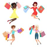 Vector Set of happy and cheerful pretty woman females jumping dancing with shopping bags. royalty free illustration