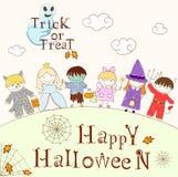Vector set with happy children in Halloween masks Stock Image