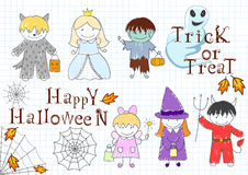 Vector set with happy children in Halloween masks Royalty Free Stock Photos