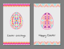 Vector set of Happy Easter cards with easter egg and tribal geometric borders Stock Image