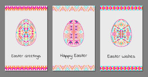 Vector set of Happy Easter cards with easter egg and tribal geometric borders Royalty Free Stock Photography
