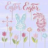 Vector set of cake topper for Happy Easter Day. stock illustration
