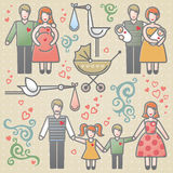 Vector set with happy families. Father, mother and children. Design elements, designers toolkit. It can be used for decoration of web page, invitations, cards Royalty Free Stock Photo