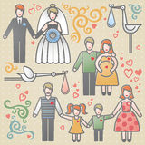Vector set with happy families. Father, mother and children. Design elements, designers toolkit. It can be used for decoration of web page, invitations, cards Stock Image