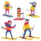 Vector set with happy family skiing  on white background. Stock Photo