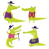 Vector set with happy fun crocodiles. Cartoon smiling alligators. In stylish costumes isolated on white background royalty free illustration