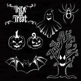 Vector set of Happy Halloween ornate elements.  Traditional and Stock Images