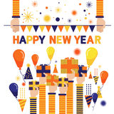 Vector set happy new year Funny pictures colorful balloons overly im Stock Photography