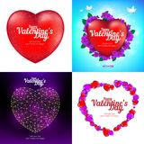 Vector set of Happy Valentine`s Day greeting cards with red heart, flying birds, flowers and consisting of polygons, lines and po. Ints. Perfect to use for Royalty Free Stock Photography
