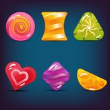 Set of Hard Cadies, Lollipop and Jelly Icons. Vector set of hard candy, lollipop and jelly icons.  elements. Perfect for match three game or other design works Stock Images