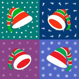Vector set of hats Christmas Elf on difference background Royalty Free Stock Photo